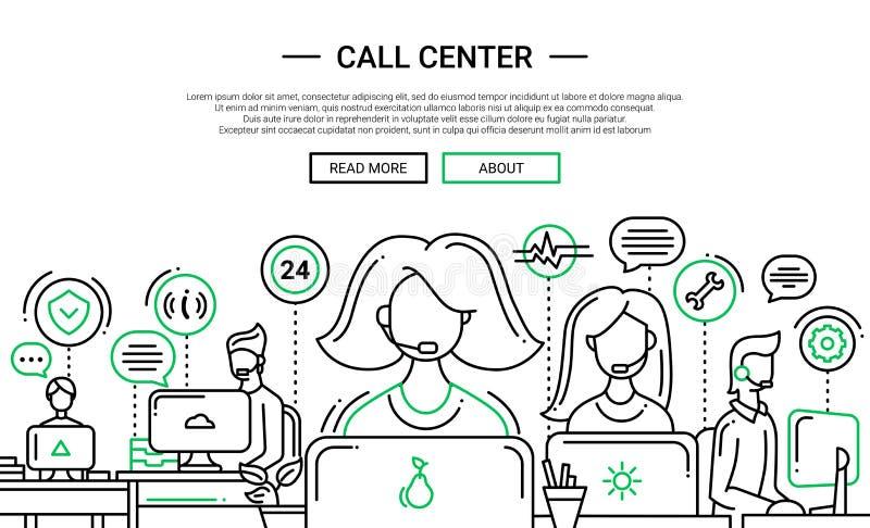 Τηλεφωνικό κέντρο - έμβλημα ιστοχώρου σχεδίου γραμμών temlate διανυσματική απεικόνιση