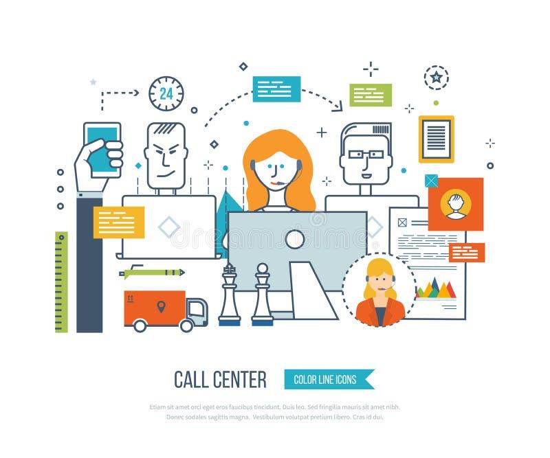Τηλεφωνικό κέντρο, εργασιακός χώρος γραφείων υποστήριξης χρηστών και εργασία ομάδων απεικόνιση αποθεμάτων