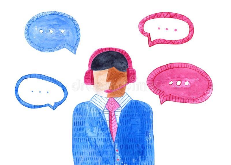 Τηλεφωνικό κέντρο Watercolor Απομονωμένο αρσενικό είδωλο διανυσματική απεικόνιση