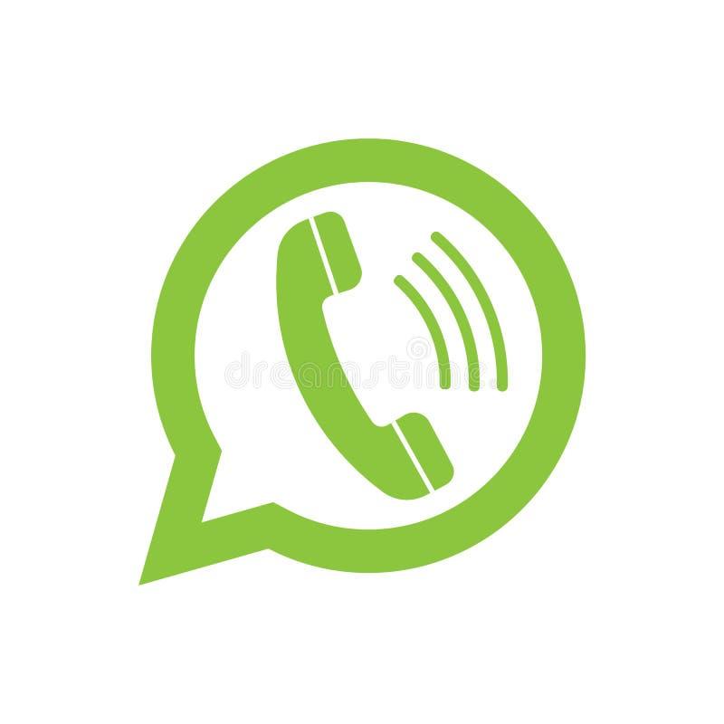 Τηλεφωνικό μικροτηλέφωνο στη λεκτική φυσαλίδα Εικονίδιο αγγελιοφόρων που απομονώνεται στο υπόβαθρο επίσης corel σύρετε το διάνυσμ διανυσματική απεικόνιση