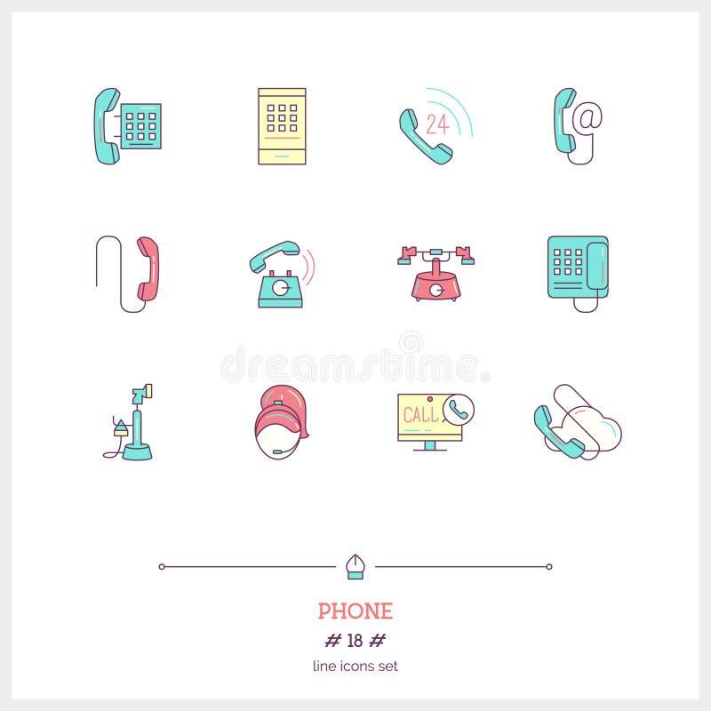 Τηλεφωνικό σύνολο Λεπτά εικονίδια τέχνης γραμμών διανυσματική απεικόνιση