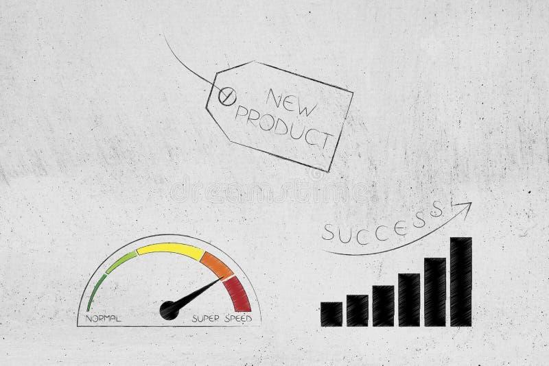 Τιμή νέων προϊόντων με το ταχύμετρο και τη θετική αύξηση stats διανυσματική απεικόνιση