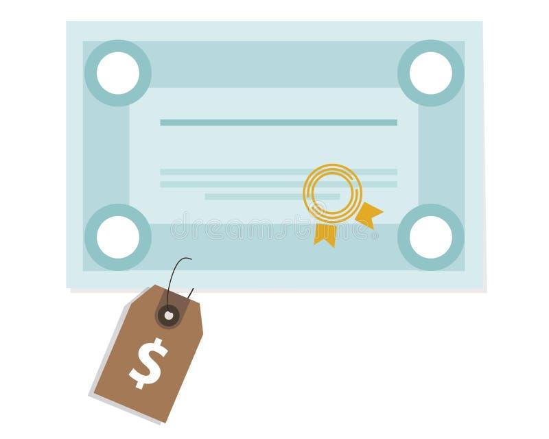 Τιμή τίτλο πληρωμής δαπανών σχολικών στο διαβαθμισμένο κολλεγίων πτυχίων εκπαίδευσης πανεπιστημιακό διανυσματική απεικόνιση