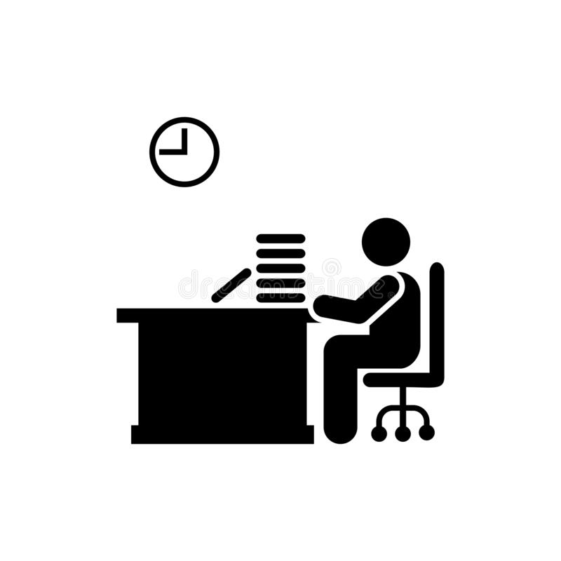 Τιμολόγιο, γραφείο, χρόνος, εικονίδιο εργασίας Στοιχείο του εικονιδίου επιχειρηματιών r o απεικόνιση αποθεμάτων