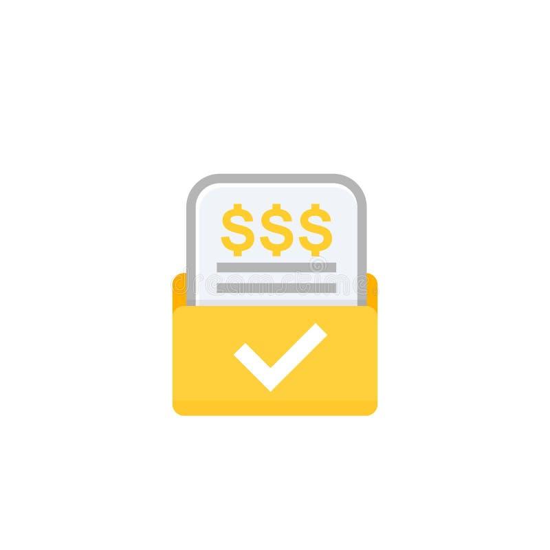 Τιμολόγιο, εικονίδιο μορφής λογαριασμών στο λευκό απεικόνιση αποθεμάτων