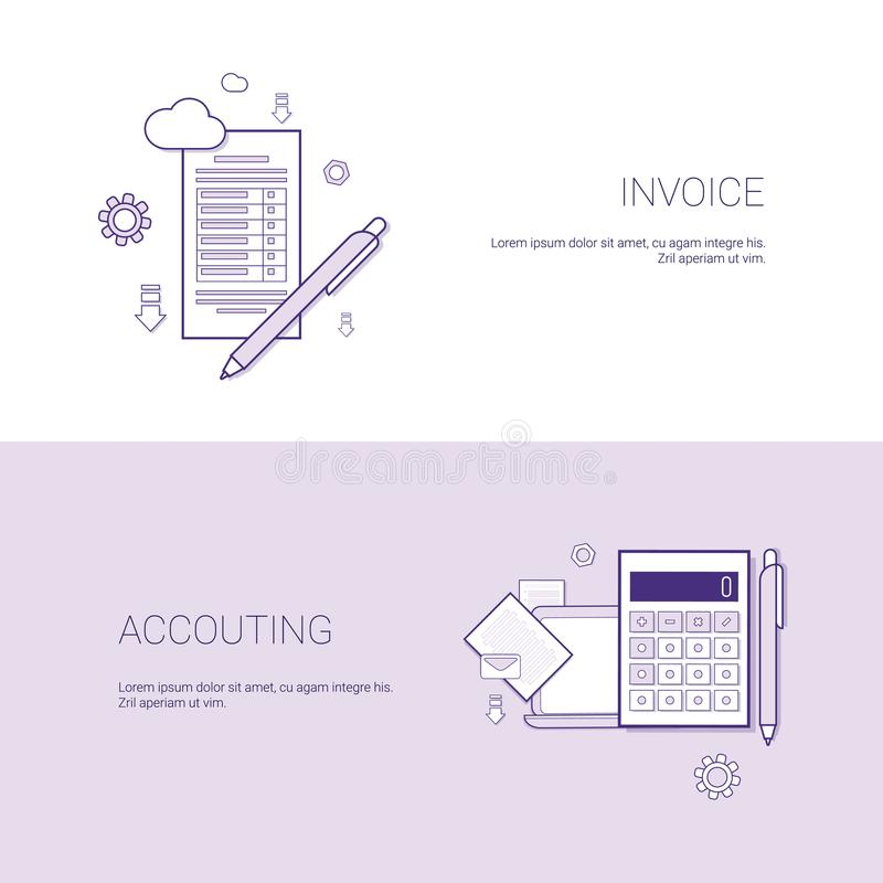 Τιμολόγιο και οικονομικό έμβλημα Ιστού προτύπων λογιστικής με το διάστημα αντιγράφων απεικόνιση αποθεμάτων