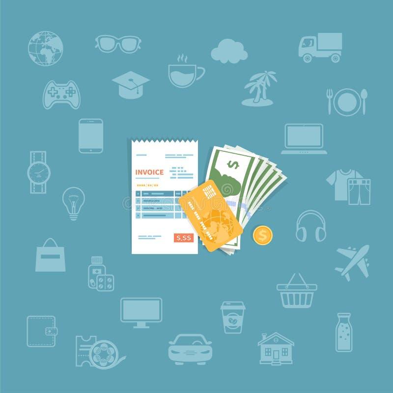Τιμολόγιο με τα χρήματα, πιστωτική κάρτα, χρυσά νομίσματα Έλεγχος εγγράφου, παραλαβή, λογαριασμός, διαταγή Πληρωμή των αγαθών, υπ απεικόνιση αποθεμάτων