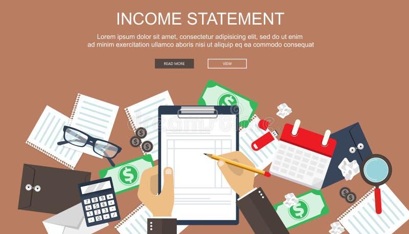 τιμολόγιο Οικονομικοί υπολογισμοί Διαδικασία εργασίας Χέρια επιχειρηματιών, υπολογιστής, οικονομικές εκθέσεις, χρήματα, νομίσματα διανυσματική απεικόνιση