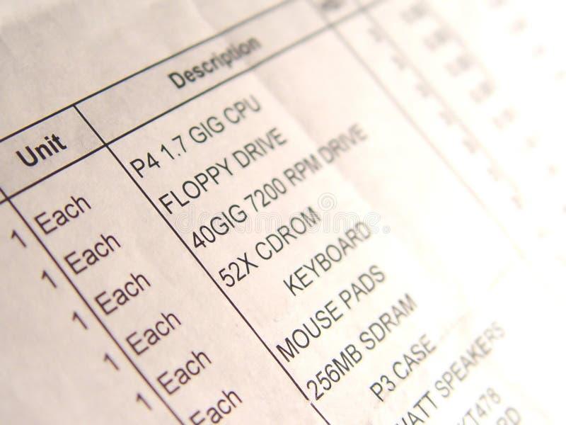 τιμολόγιο υπολογιστών στοκ φωτογραφία με δικαίωμα ελεύθερης χρήσης