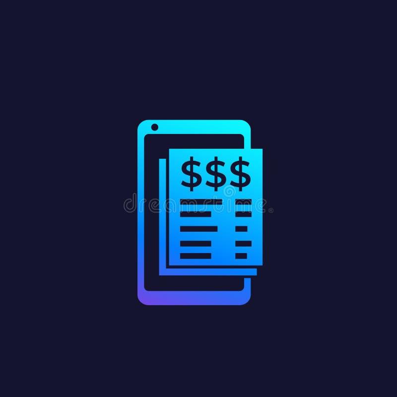 Τιμολόγιο app, κινητό εικονίδιο πληρωμών, διάνυσμα διανυσματική απεικόνιση