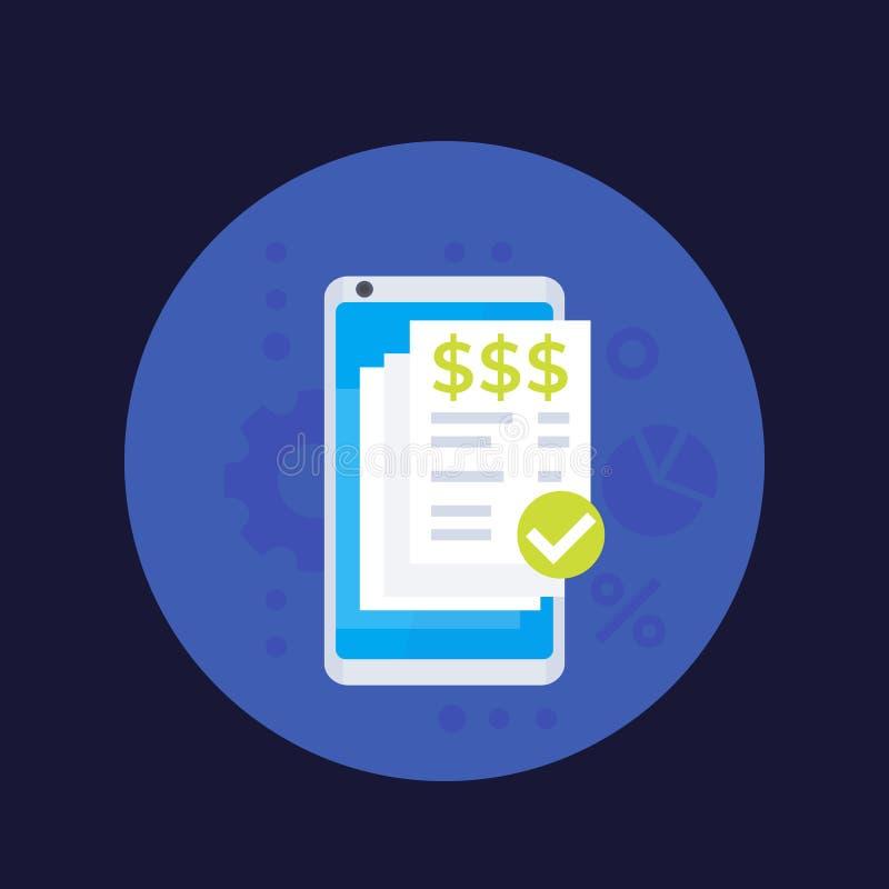 Τιμολόγιο app, κινητό εικονίδιο πληρωμών με το smartphone απεικόνιση αποθεμάτων