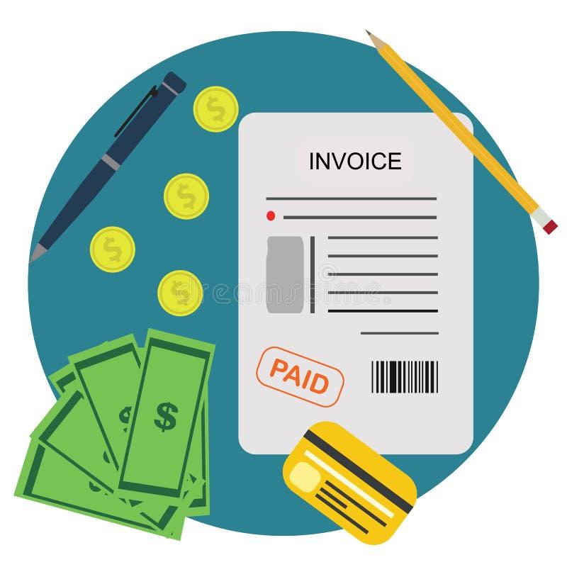 Τιμολόγιο Μπιλ που πληρώνεται την πληρωμή την έννοια οικονομικού απολογισμού απεικόνιση αποθεμάτων
