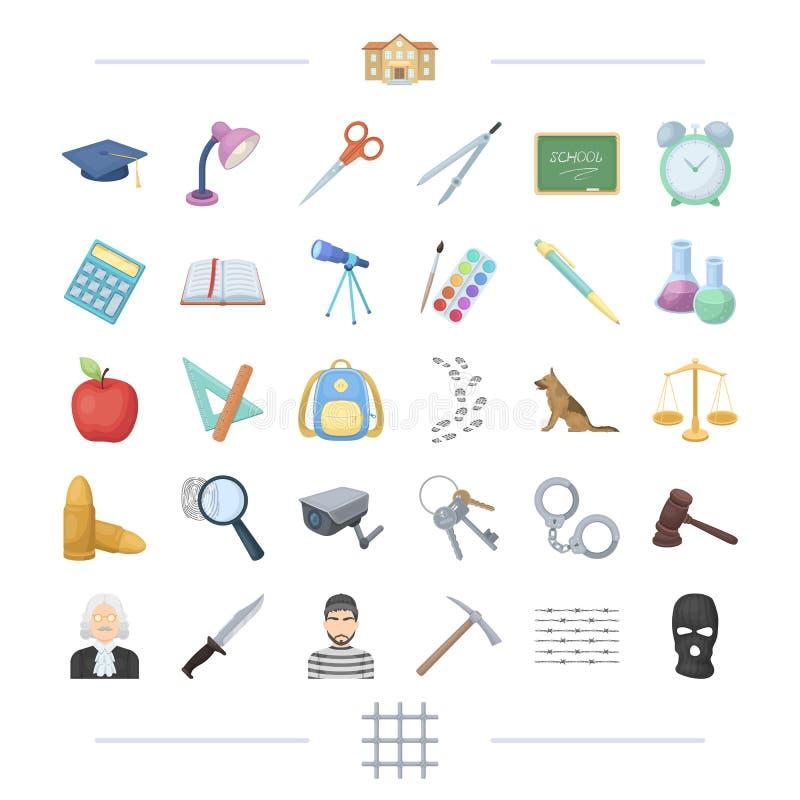Τιμωρία, διδασκαλία, εκπαίδευση και άλλο εικονίδιο Ιστού στο ύφος κινούμενων σχεδίων ελεύθερη απεικόνιση δικαιώματος