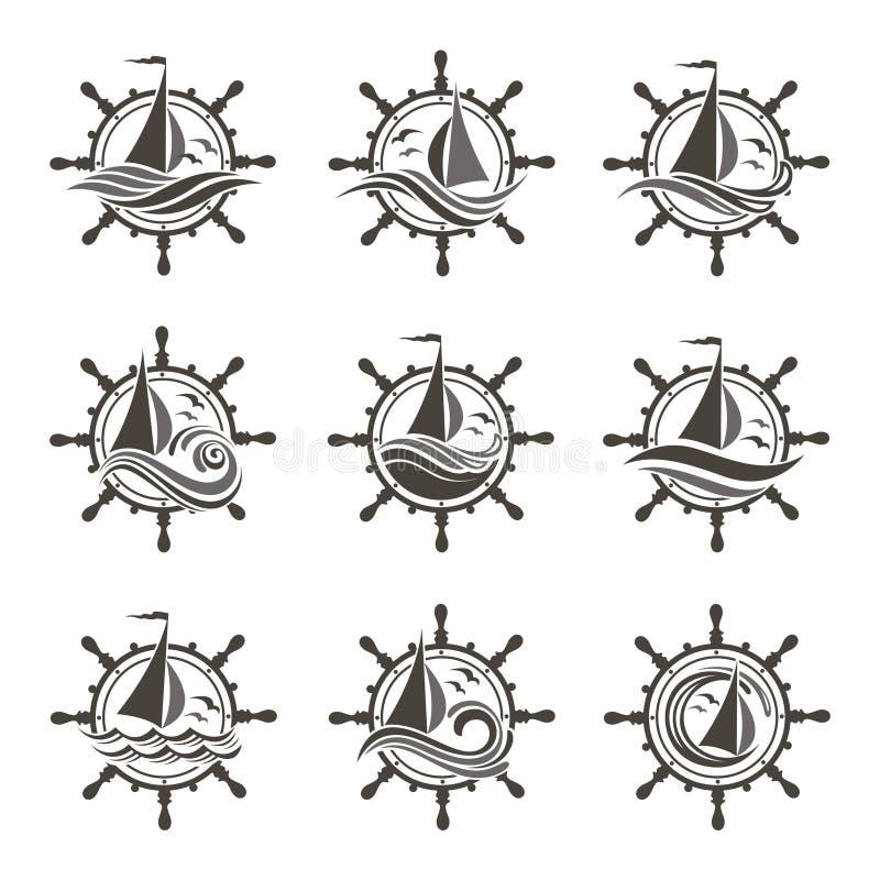 Τιμόνι γιοτ και εικονίδια κυμάτων διανυσματική απεικόνιση