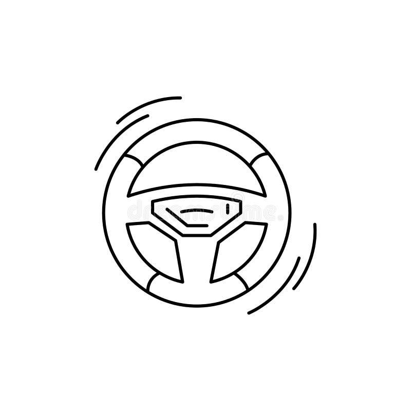 τιμόνι, οδήγηση, εικονίδιο γραμμής αυτοκινήτου σε λευκό φόντο ελεύθερη απεικόνιση δικαιώματος