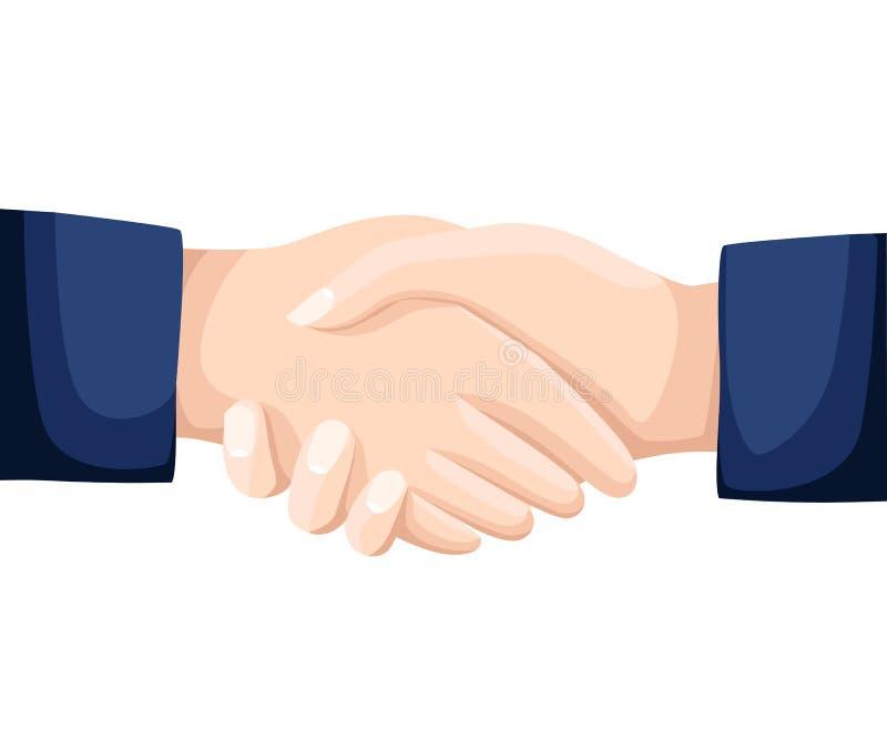 Τινάζοντας επιχειρησιακή απεικόνιση χεριών με τις αφηρημένες ακτίνες, σύμβολο της διαπραγμάτευσης επιτυχίας, ευτυχής συνεργασία,  διανυσματική απεικόνιση
