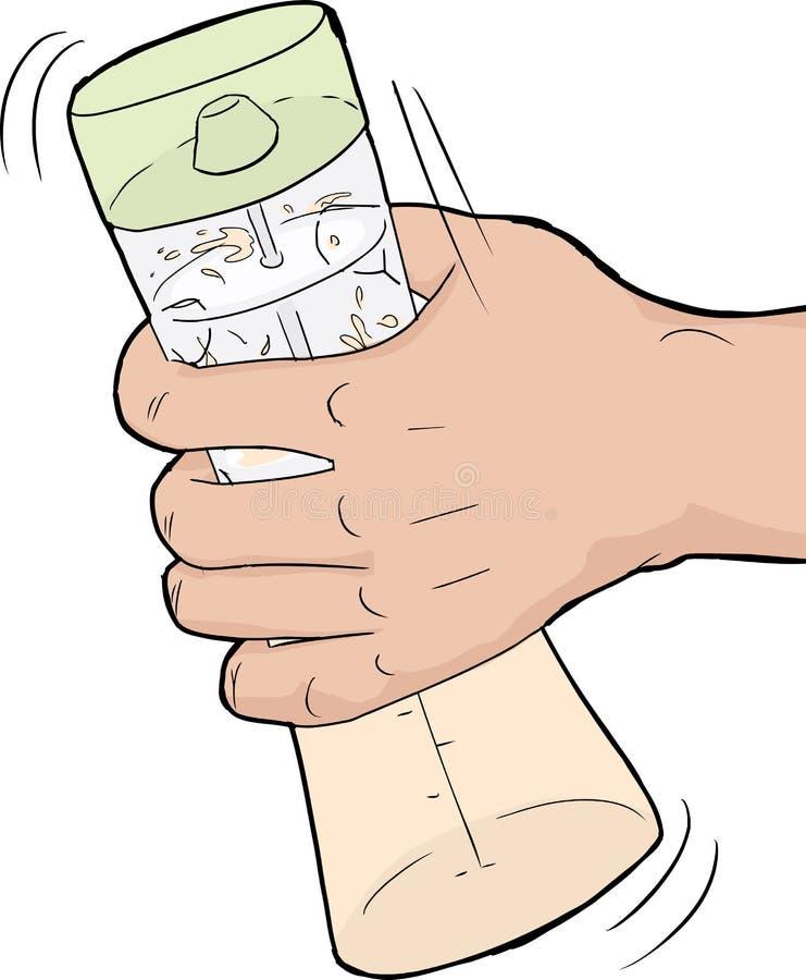 Τινάζοντας σάλτσα σαλάτας χεριών διανυσματική απεικόνιση