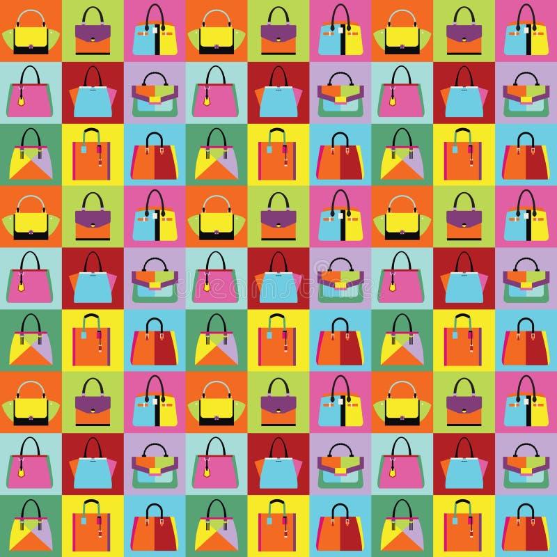 Τις αναδρομικές λαϊκές τσάντες πορτοφολιών και χεριών γυναικών τέχνης καθορισμένες το σχέδιο απεικόνιση αποθεμάτων