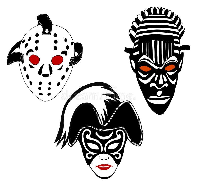 τις αφρικανικές μάσκες χόκεϋ που τίθενται τη Βενετία διανυσματική απεικόνιση