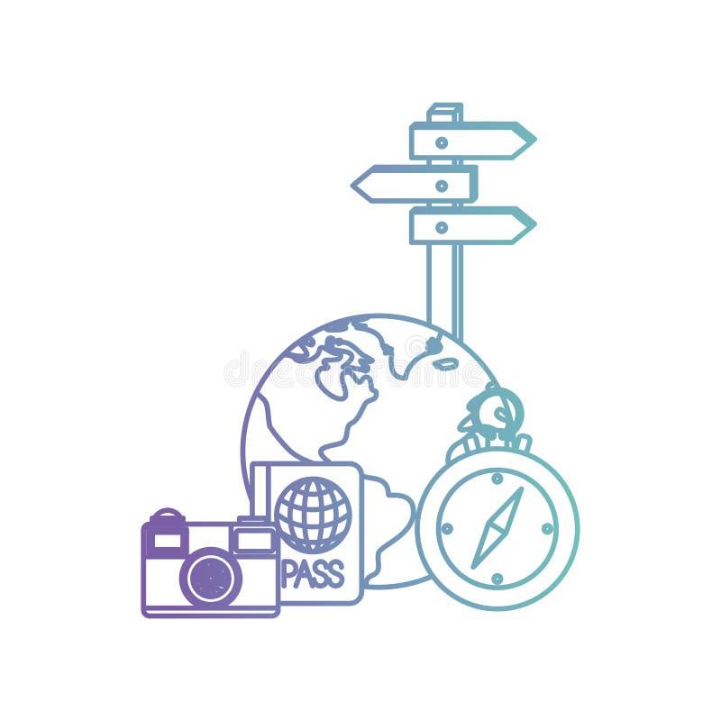 Τις διακοπές ταξιδιού καθορισμένες τα εικονίδια ελεύθερη απεικόνιση δικαιώματος