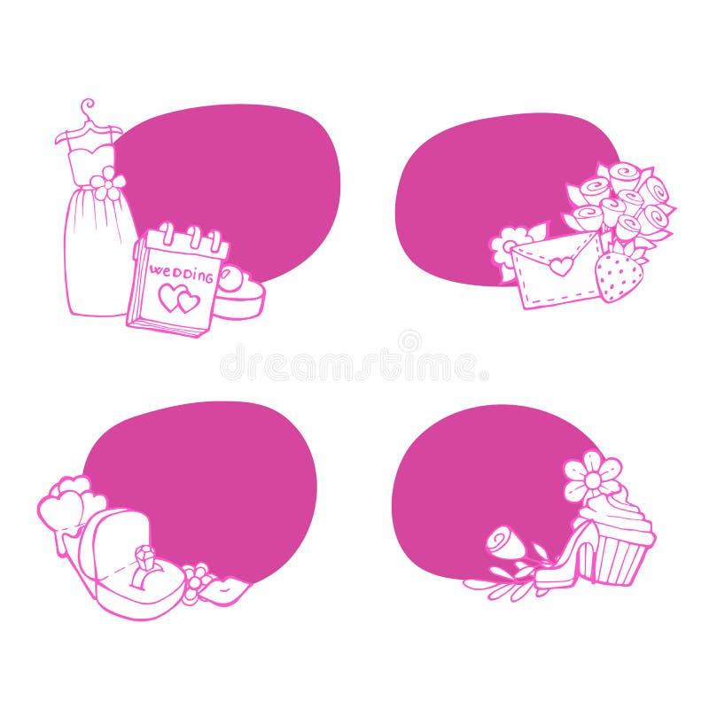 Τις διανυσματικές αυτοκόλλητες ετικέττες γαμήλιων στοιχείων doodle καθορισμένες την απεικόνιση απεικόνιση αποθεμάτων