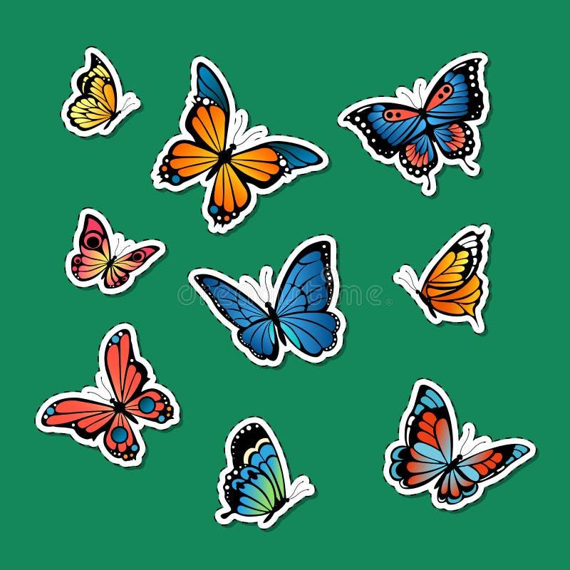 Τις διανυσματικές διακοσμητικές χρωματισμένες αυτοκόλλητες ετικέττες πεταλούδων καθορισμένες την απεικόνιση ελεύθερη απεικόνιση δικαιώματος