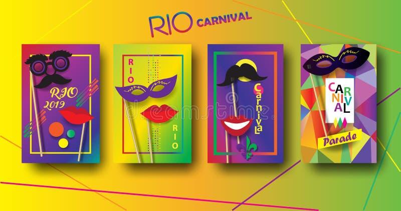 Τις εορταστικές αφίσες του ΡΙΟ καρναβάλι καθορισμένες τη Mardi Gras, βραζιλιάνο πρότυπο σημαδιών φεστιβάλ διανυσματική απεικόνιση