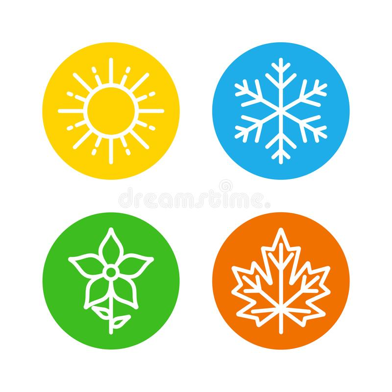 Τις εποχές καθορισμένες τα ζωηρόχρωμα εικονίδια - οι εποχές - καλοκαίρι, χειμώνας, άνοιξη και φθινόπωρο - σημάδι πρόγνωσης καιρού ελεύθερη απεικόνιση δικαιώματος