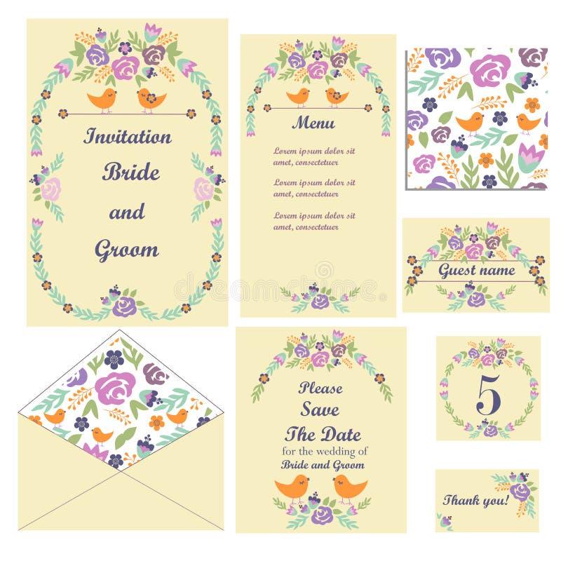 τις κάρτες που τίθενται το γάμο Γαμήλιες προσκλήσεις η κάρτα σας ευχαριστεί Εκτός από την κάρτα ημερομηνίας Επιτραπέζια κάρτα θέσ απεικόνιση αποθεμάτων
