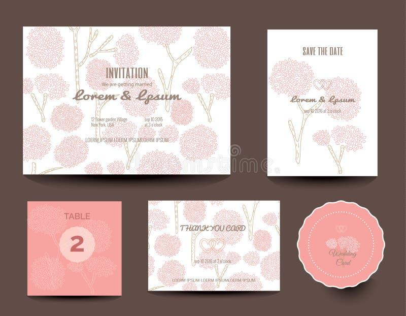 τις κάρτες που τίθενται το γάμο Γαμήλιες προσκλήσεις διάνυσμα ελεύθερη απεικόνιση δικαιώματος