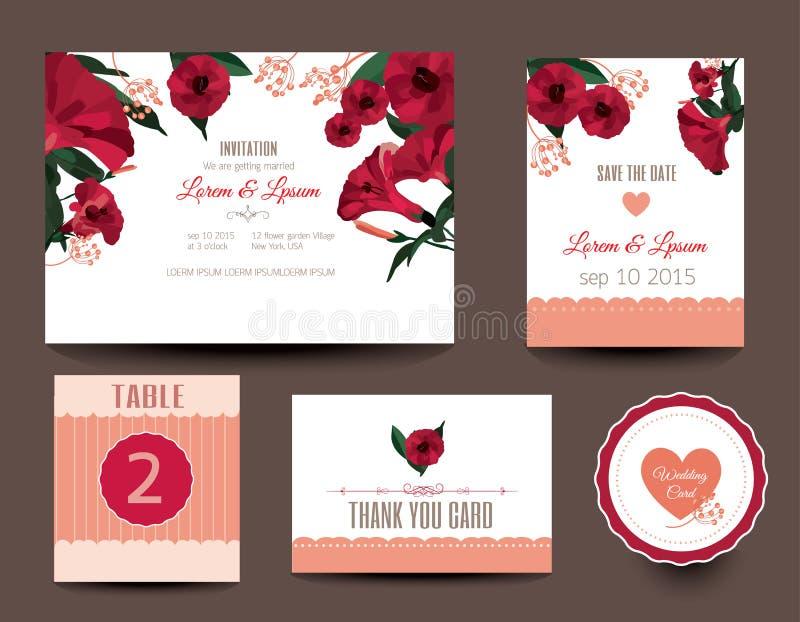 τις κάρτες που τίθενται το γάμο Γαμήλιες προσκλήσεις απεικόνιση αποθεμάτων