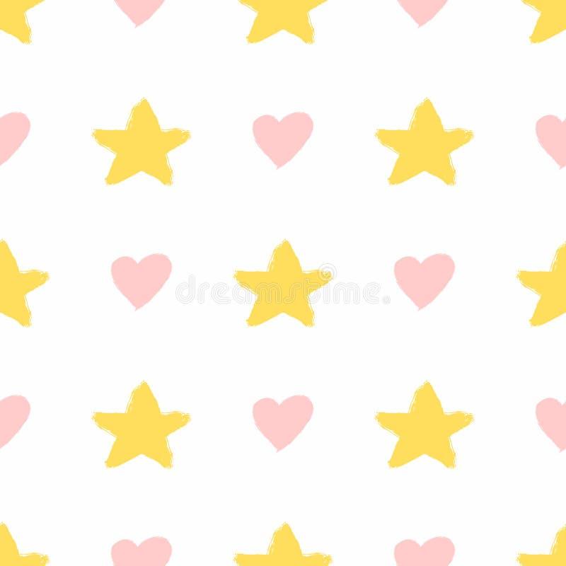 Τις καρδιές και τα αστέρια που σύρονται επαναλαμβάνοντας με το χέρι με τη βούρτσα watercolour χαριτωμένο πρότυπο άνευ ραφής Σκίτσ απεικόνιση αποθεμάτων