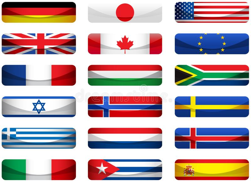 τις σημαίες που τίθενται τον κόσμο διανυσματική απεικόνιση