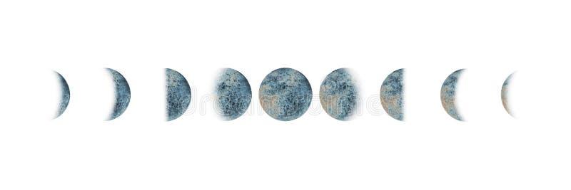 Τις φάσεις φεγγαριών καθορισμένες το watercolor που απομονώνεται στοκ εικόνες