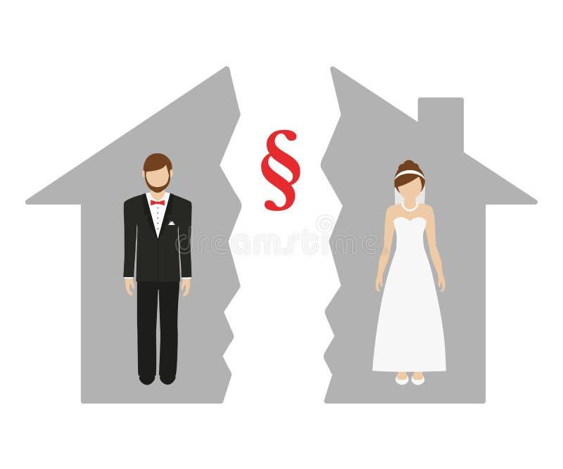 Τμήμα της ιδιοκτησίας στο διαζύγιο του άνδρα και της γυναίκας σε ένα μισό σπίτι ελεύθερη απεικόνιση δικαιώματος