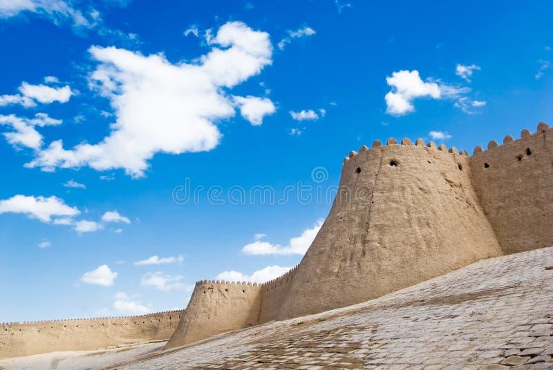 Τοίχοι μιας αρχαίας πόλης Khiva, Ουζμπεκιστάν στοκ φωτογραφία