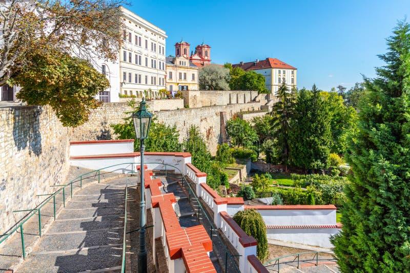 Τοίχοι οχυρώσεων και baileys στο ιστορικό κέντρο της πόλης Litomerice, Δημοκρατία της Τσεχίας στοκ φωτογραφία