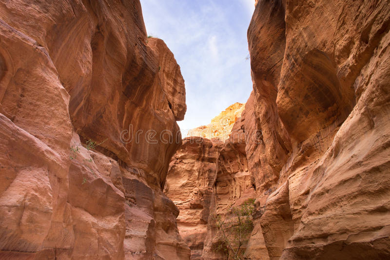 Τοίχοι Al Siq, Petra στοκ φωτογραφία