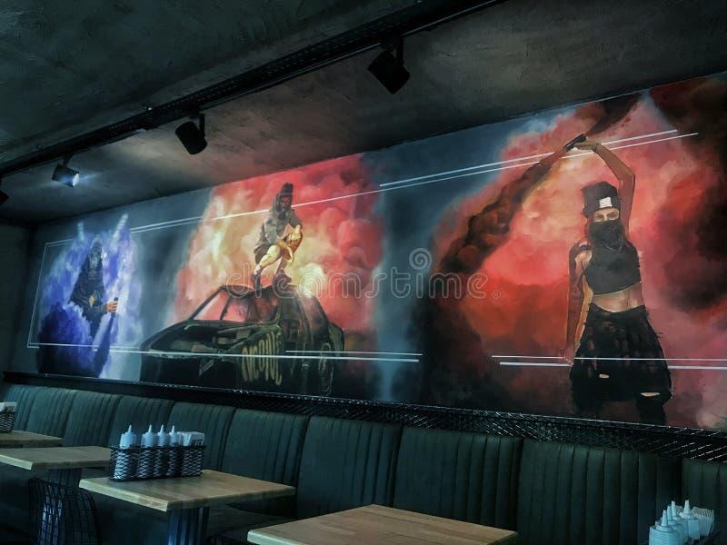 Τοίχος ενός εστιατορίου στοκ φωτογραφία με δικαίωμα ελεύθερης χρήσης