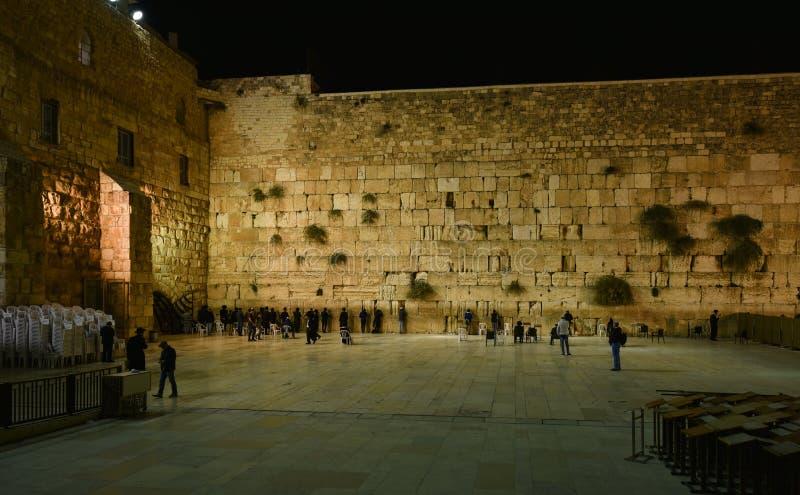 Τοίχος Ιερουσαλήμ, άποψη Wailing νύχτας στοκ εικόνες με δικαίωμα ελεύθερης χρήσης