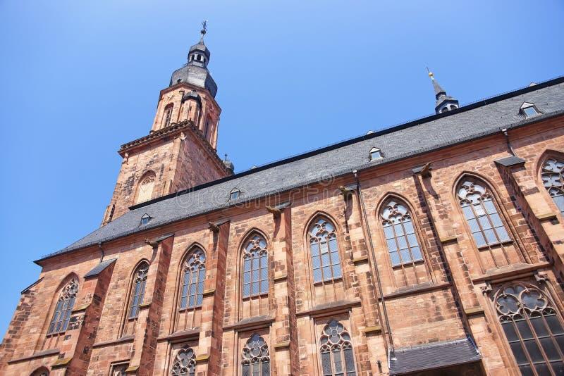 Τοίχος και κώνος του καθεδρικού ναού του ιερού πνεύματος στη Χαϋδελβέργη στοκ φωτογραφία