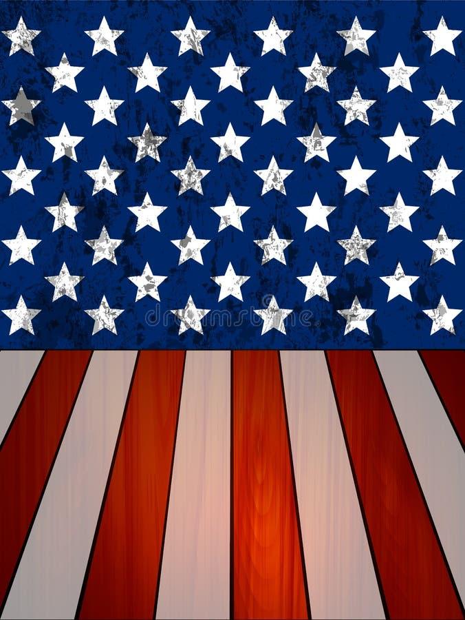 Τοίχος και ξύλινες σανίδες σύσταση της Ηνωμένης σημαίας διανυσματική απεικόνιση