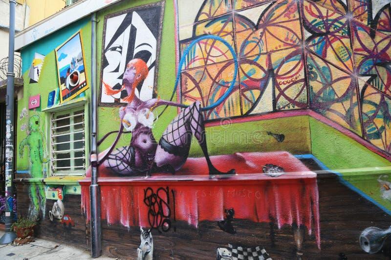 Τοίχος με τα γκράφιτι σε Valparaiso, Χιλή στοκ φωτογραφίες