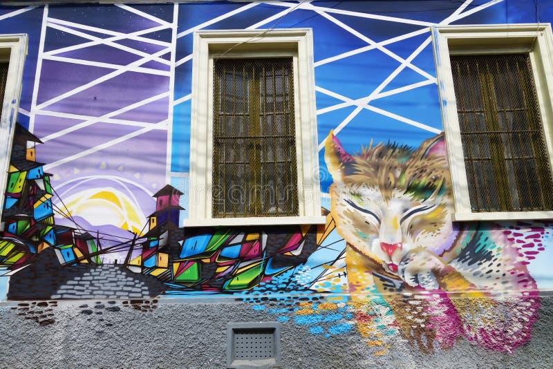 Τοίχος με τα γκράφιτι σε Valparaiso, Χιλή στοκ φωτογραφία