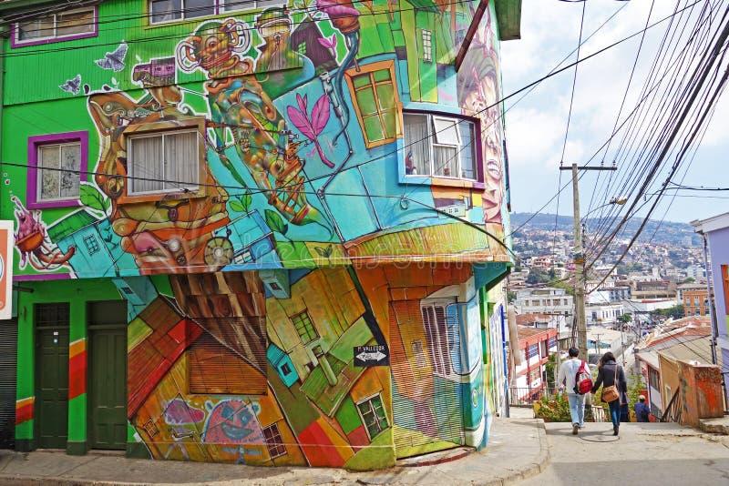 Τοίχος με τα γκράφιτι σε Valparaiso, Χιλή στοκ εικόνα με δικαίωμα ελεύθερης χρήσης