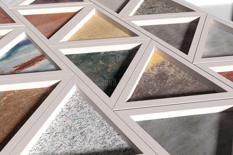 Τοίχος με τα τρίγωνα των διαφορετικών υλικών στα άσπρα πλαίσια διανυσματική απεικόνιση