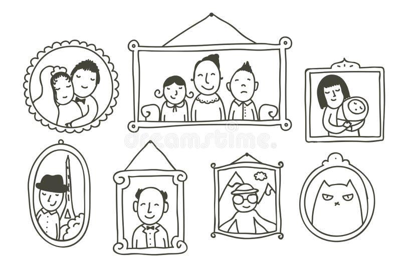 Τοίχος με τις πλαισιωμένες φωτογραφίες ελεύθερη απεικόνιση δικαιώματος