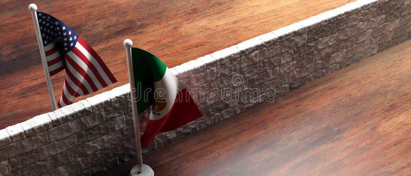 Τοίχος συνόρων μεταξύ των ΗΠΑ των σημαιών της Αμερικής και του Μεξικού τρισδιάστατη απεικόνιση διανυσματική απεικόνιση