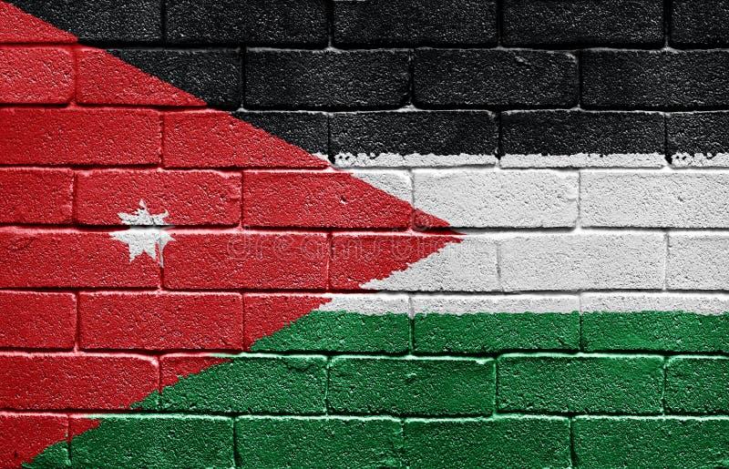 τοίχος της Ιορδανίας σημαιών τούβλου στοκ φωτογραφία με δικαίωμα ελεύθερης χρήσης