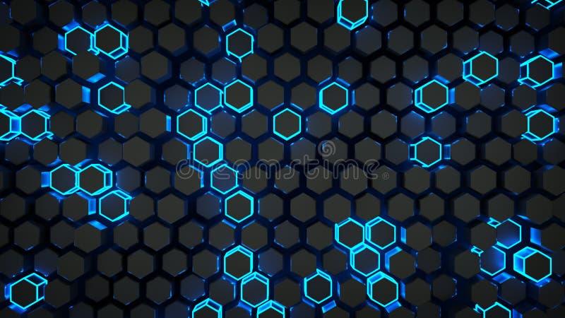 Τοίχος της μπλε hexagons πυράκτωσης τρισδιάστατης απόδοσης ελεύθερη απεικόνιση δικαιώματος